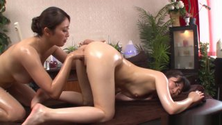 Alluring Asian lesbians get freaky in a massage parlour
