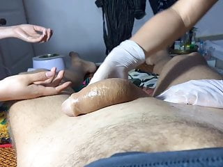 2 Hand waxing of a big cock Part 4  too much fooling around