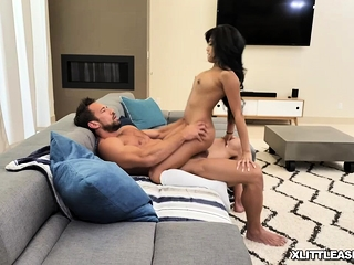 Asian petite Ember Snow squirts everywhere in the process