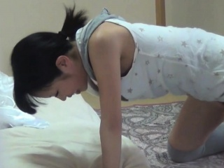 Horny asian babe rubbing